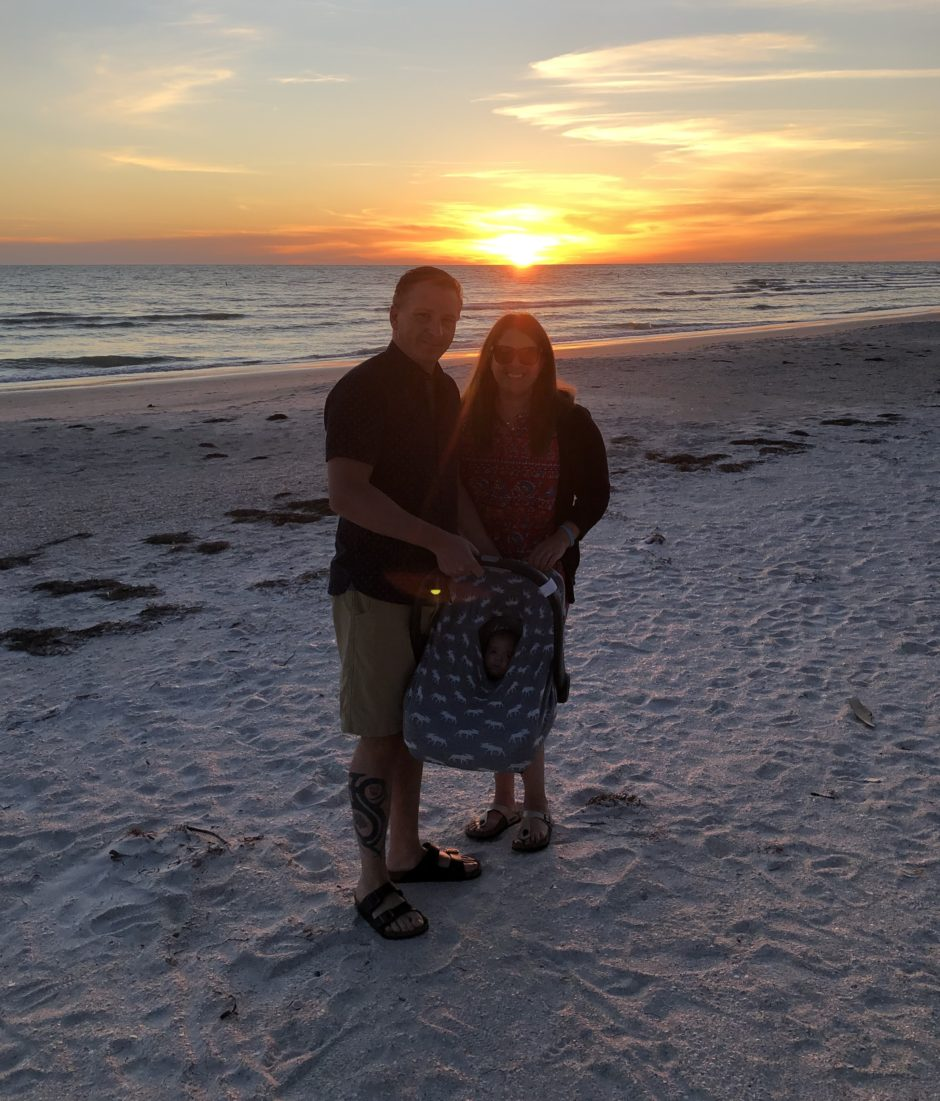 Stefan Hancock and Anna Patten enjoy the sunset on a Florida beach, after a five-day vacation went on for months under the stress of a premature delivery and a worldwide pandemic.