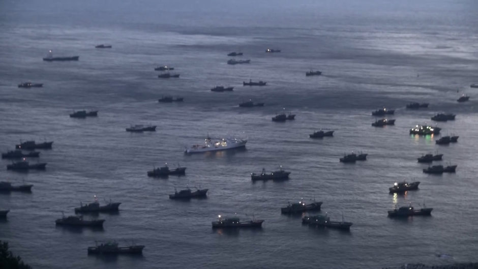 The largest illegal fleet spotted by The Outlaw Ocean and Global Fishing Watch in the Sea of Japan, or East Sea, during the course of the investigation. (South Korea Fisheries Agency/The Outlaw Ocean Project)