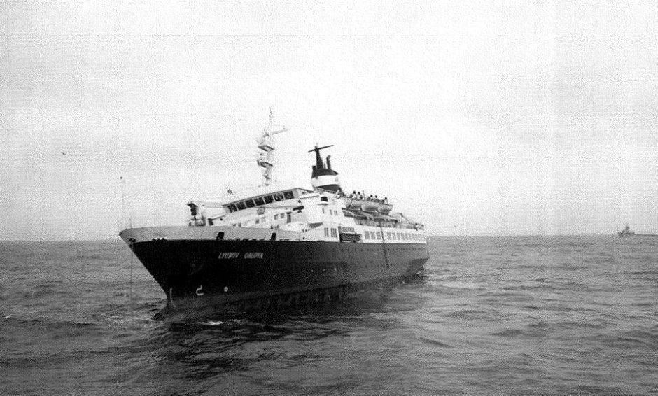 The Lyubov Orlova drifting in the Atlantic Ocean