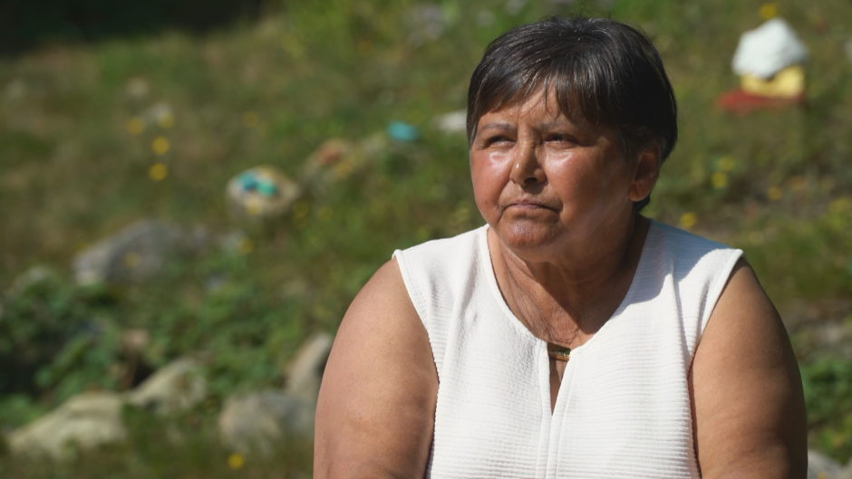 Pictured is Emma Reelis, an Inuk elder, seated outside on the lawn of the First Light centre in St. John's.