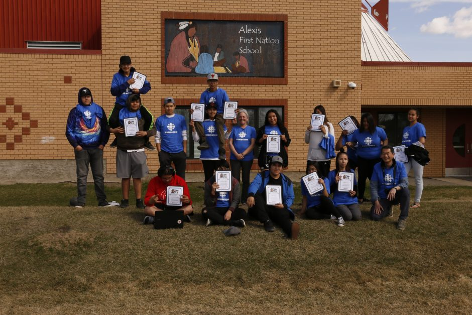 A picture of the graduating class of CBC Edmonton's first mentorship program with Alexis Nakota Sioux Nation.