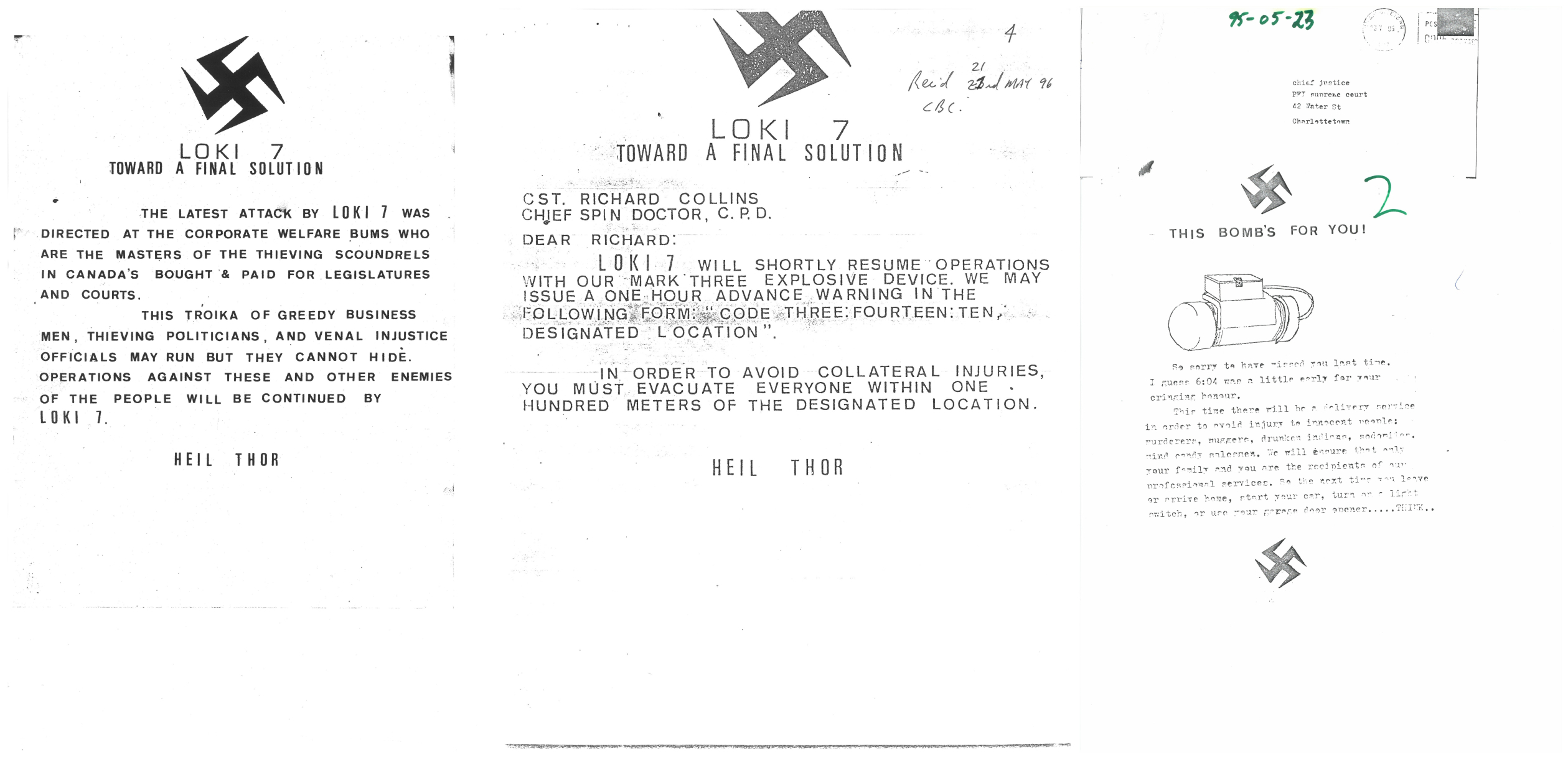 Letters sent by the bomber. (Submitted by Brad MacConnell)