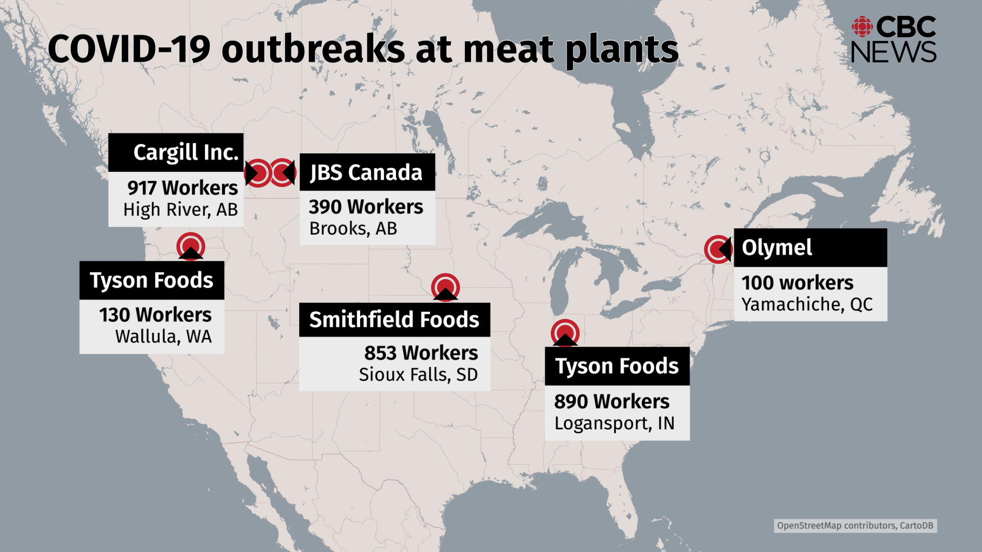 These are some of the largest outbreaks of COVID-19 across North America as of May 1, 2020. (CBC)