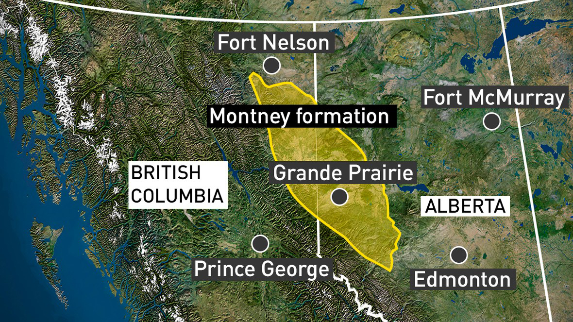 The Montney formation stretches 130,000 square kilometres in a football-shaped diagonal from northeast B.C. into northwest Alberta. (CBC News)