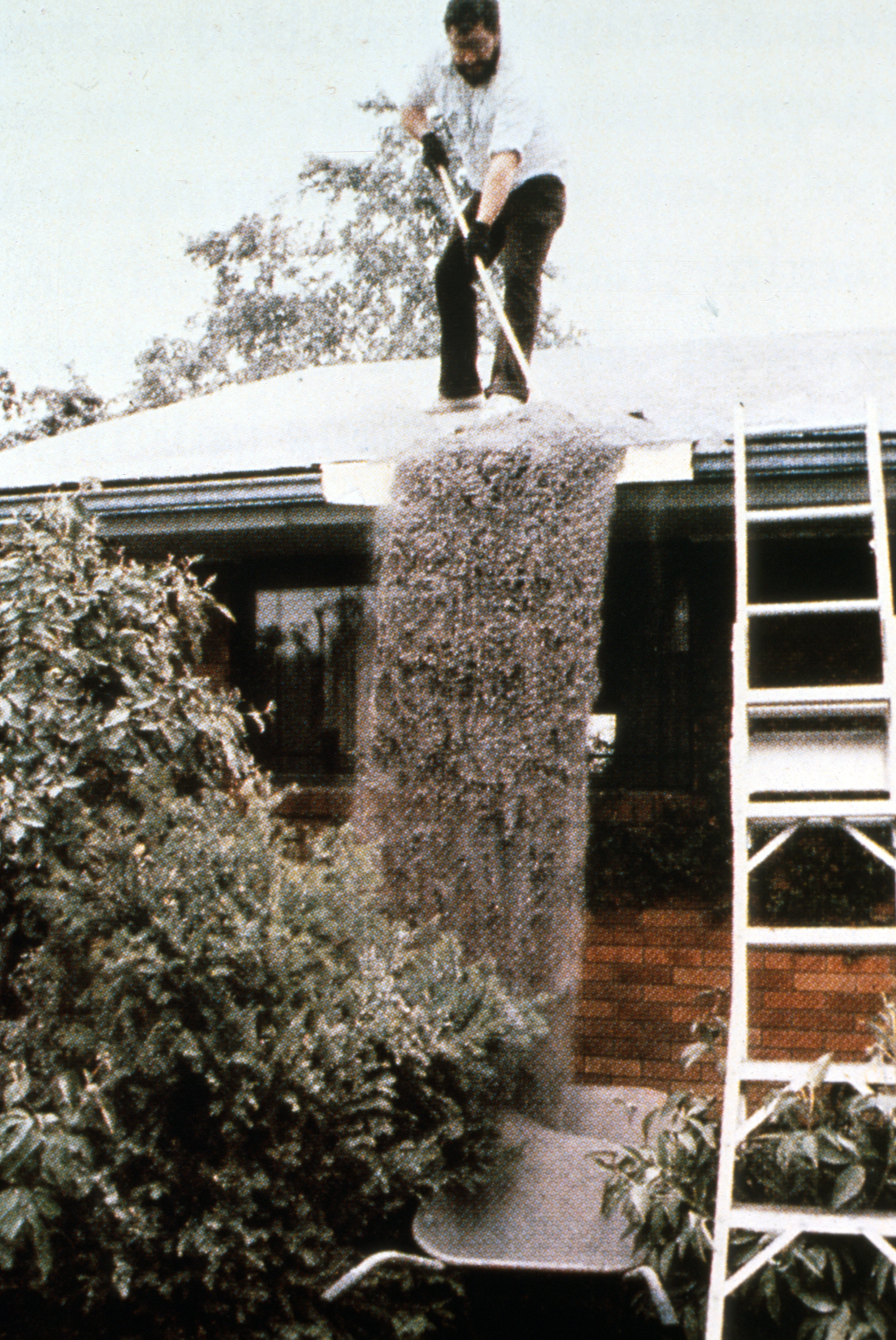 A Washington state resident sweeps ash from the roof of his house on May 18, 1980. (U.S. Geological Survey)