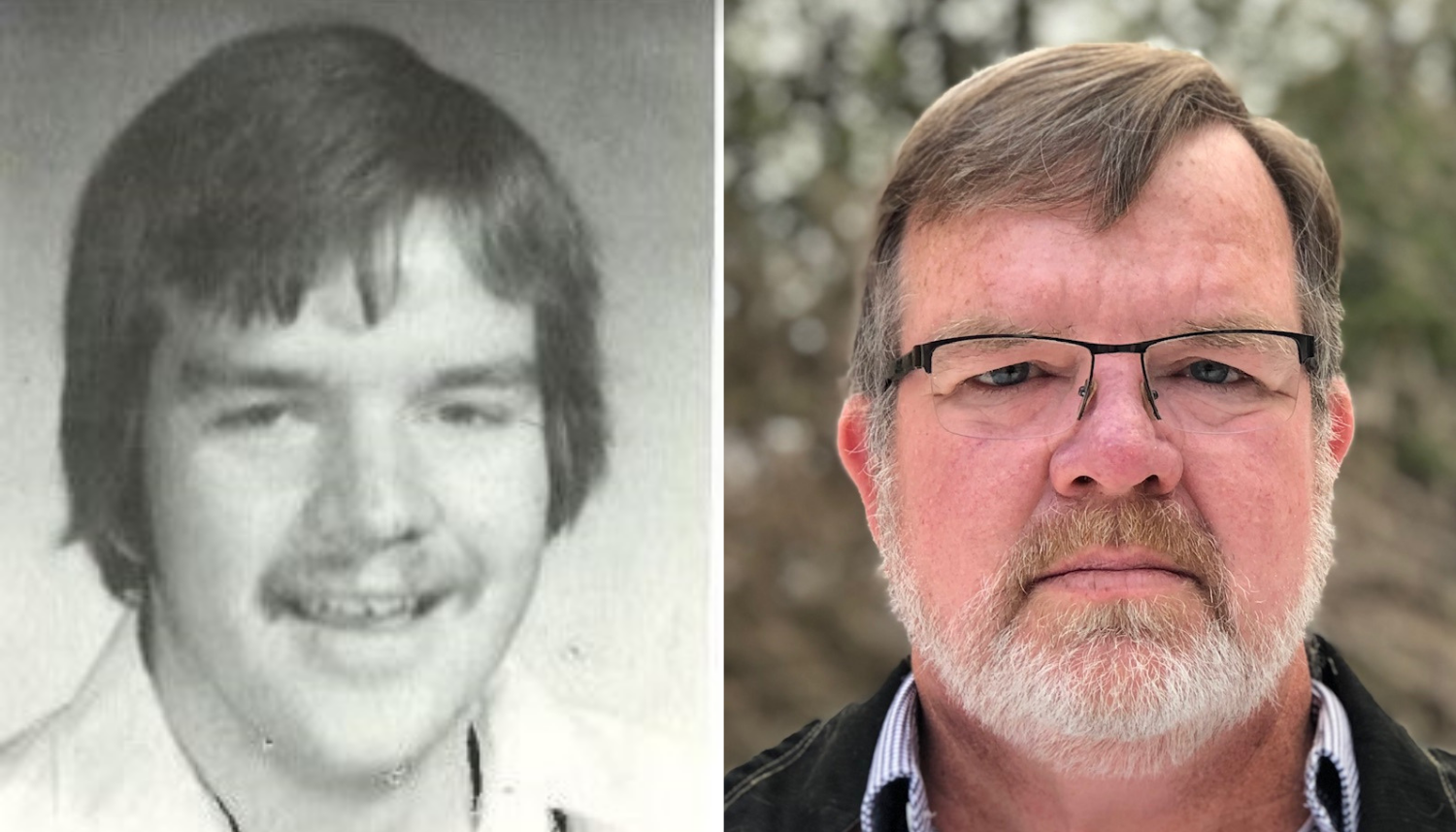 From left, John Myers's yearbook photo from 1979, and Myers in 2018. (Julie Ireton/CBC)