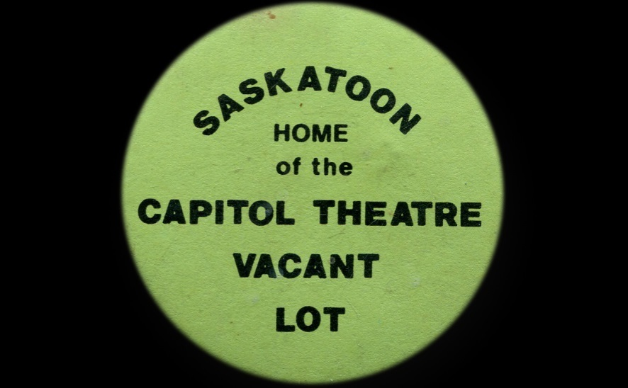 """""""So many people were upset, but the city had a history of progress with a capital 'P', not a sense of history and preservation,"""" said Richard Perry, who kept this button over the years. (Guy Quenneville/CBC)"""