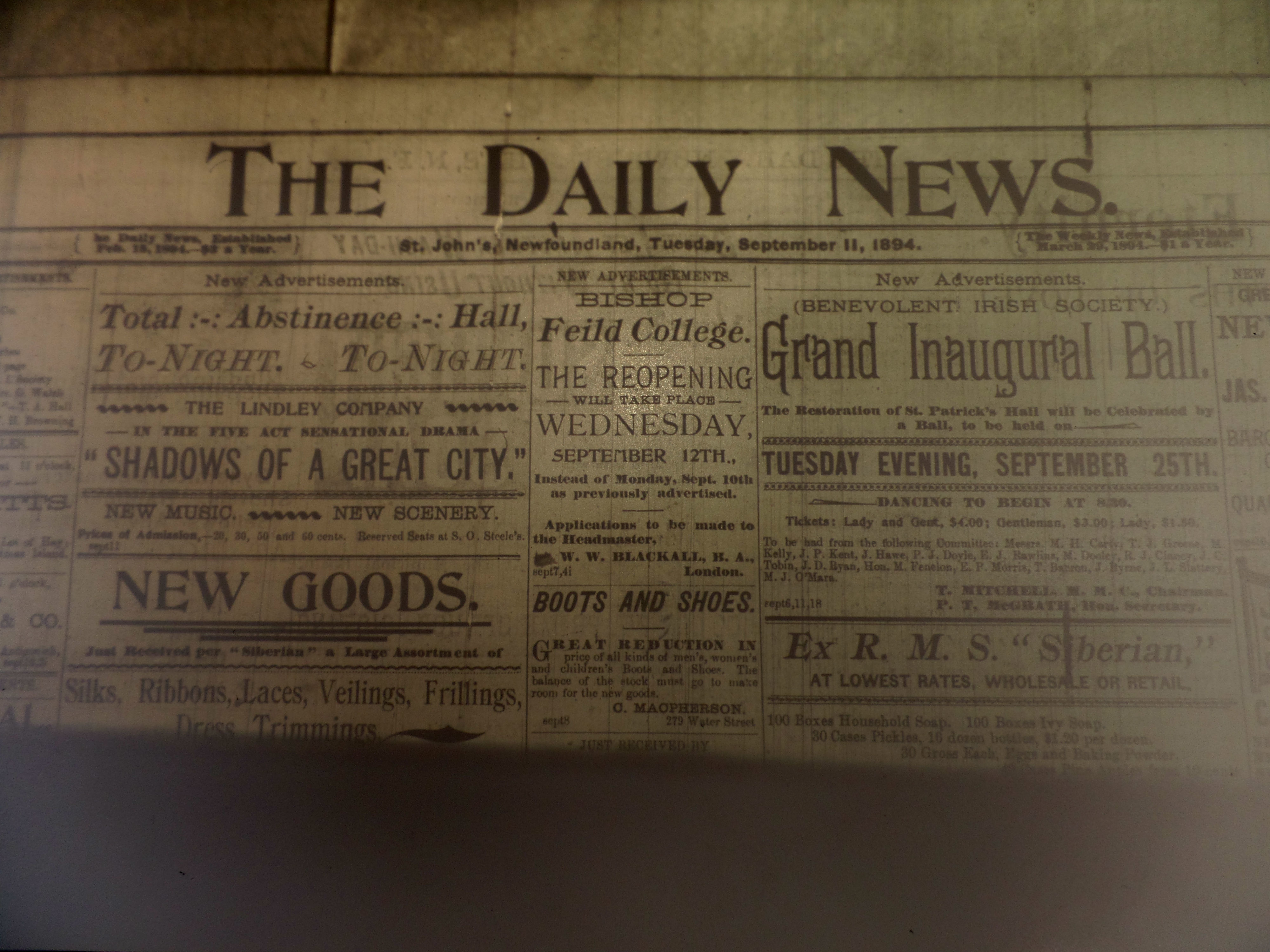 The front page of the Daily News in 1894. (CBC)