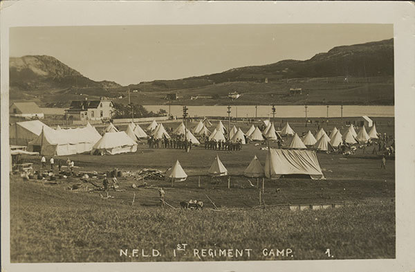 Tents along the north shore of Quidi Vidi Lake during the First World War. (The Rooms)
