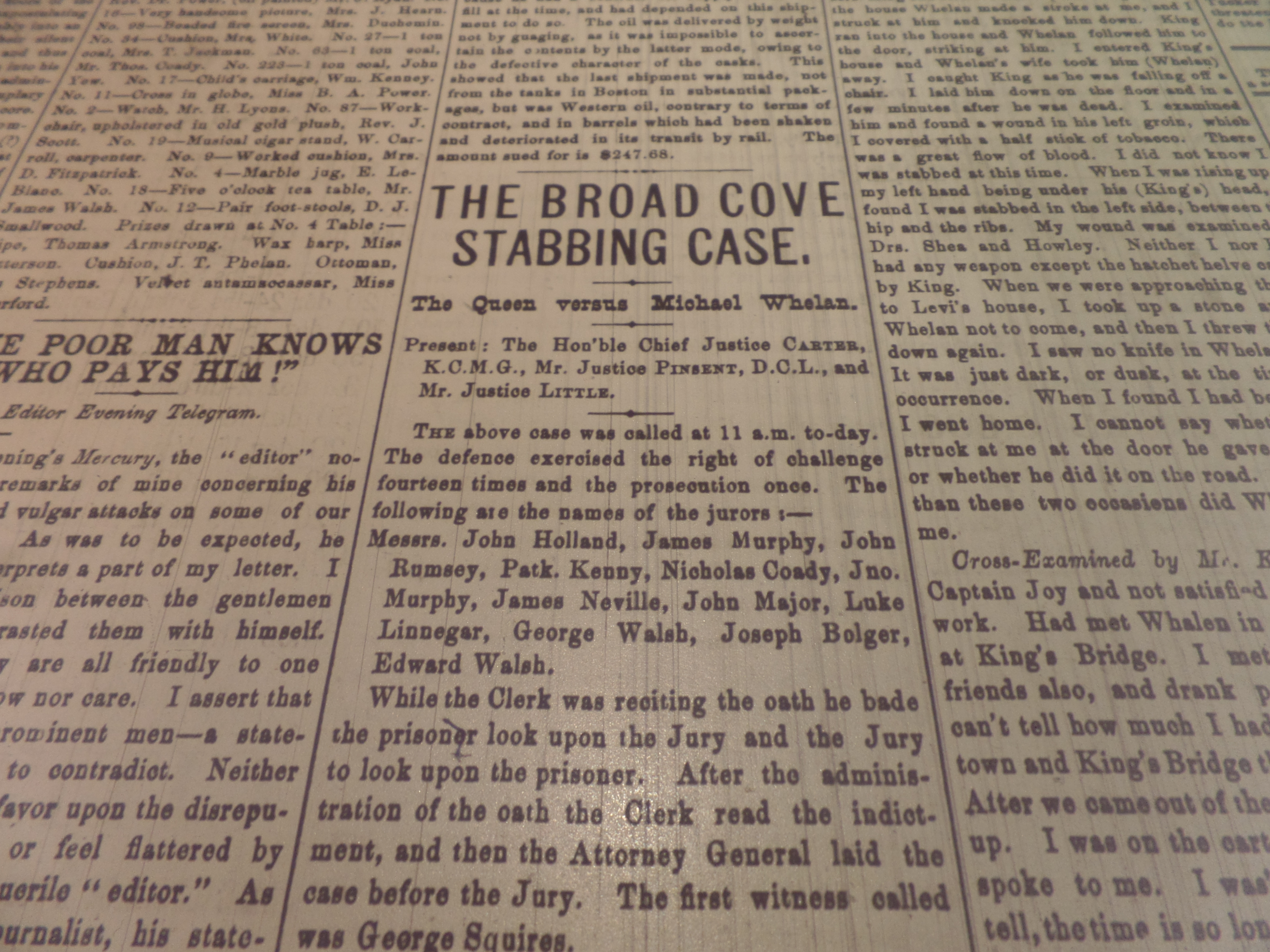 An article about the murder was published in The Evening Telegram in 1883. (CBC)