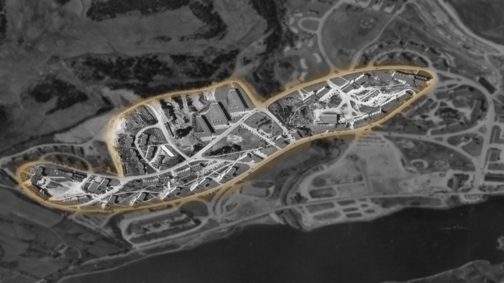 The Fort Pepperrell base at Quidi Vidi Lake, highlighted to show its distinct design. (MUN Maritime History Archive)