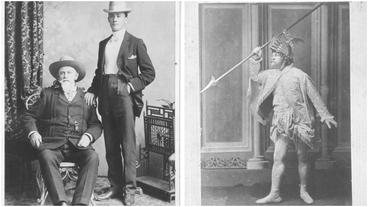 Professor Charles Danielle (left, seated), who also liked to dress up in costumes (right) in the 1800s. (MUN Archives / MUN Special Collections)
