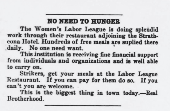 An ad promotes the Labour Café in the Western Labour News. (Archives of Manitoba)