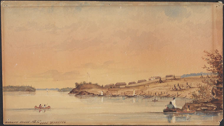 Norway House, Man., near Lake Winnipeg, ca. 1847. (Library and Archives Canada watercolour, touches of gouache over pencil, with scratching out on woven paper. MIKAN no.  2838348)
