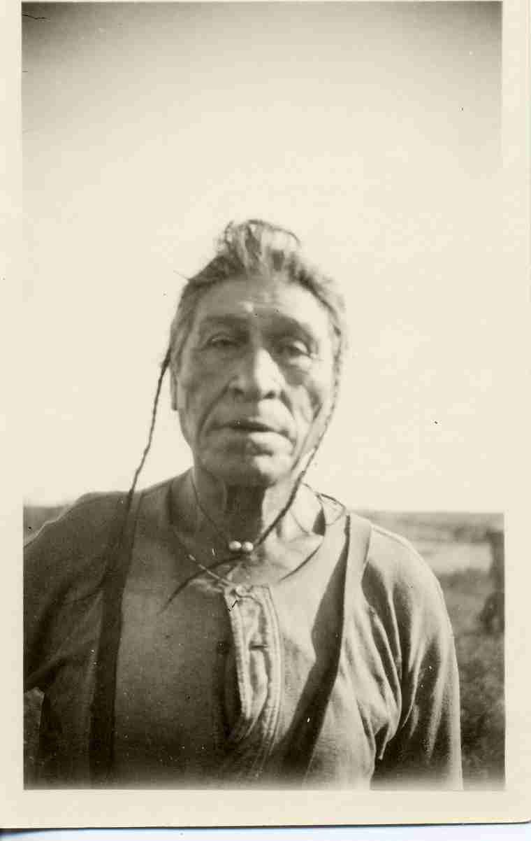 Old Chief Fine Day in farmer clothing (1920-1929). University of Saskatchewan Libraries Special Collections.