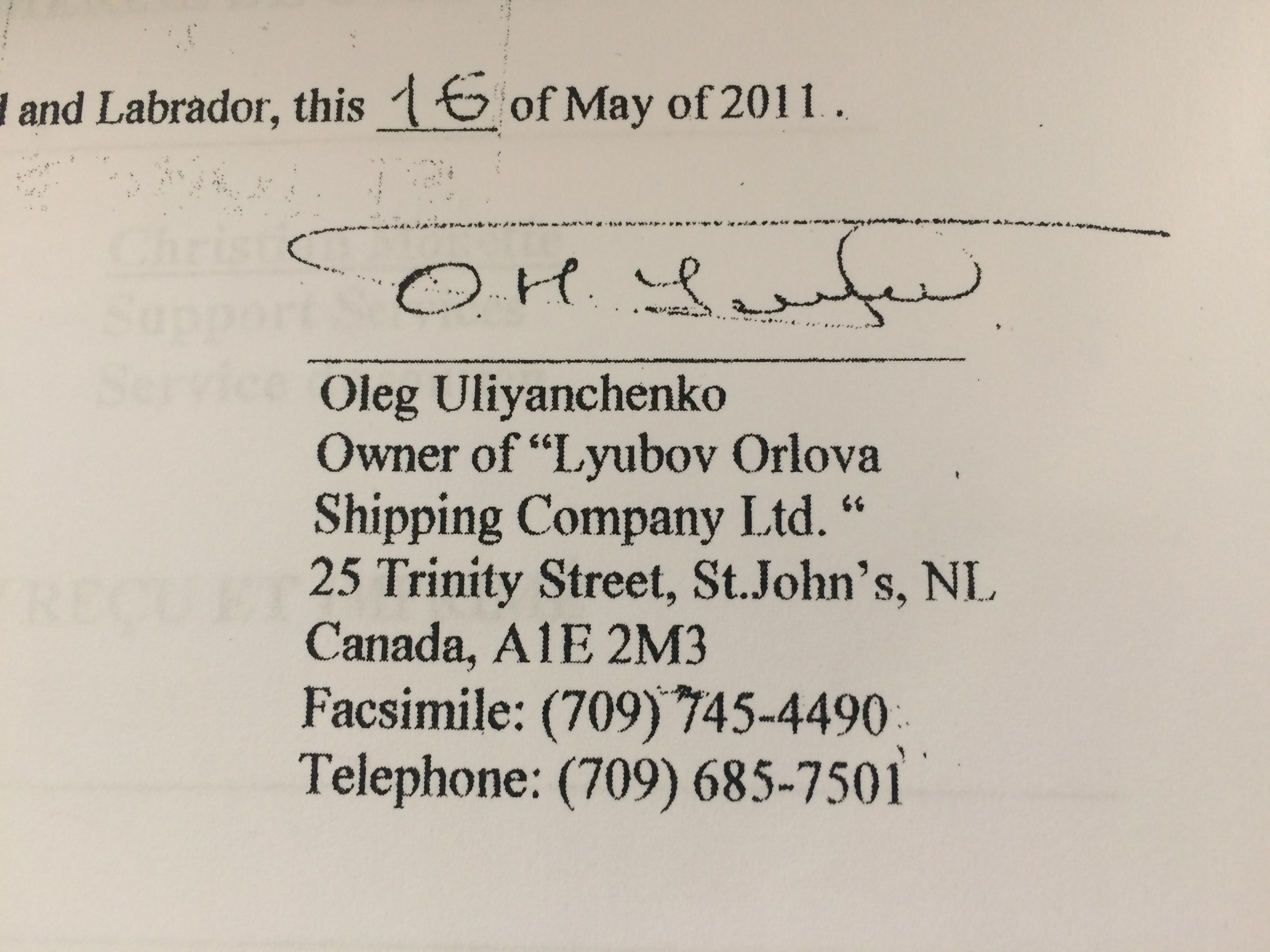 Oleg Uliyanchenko's signature on a statement of defence, filed in St. John's.