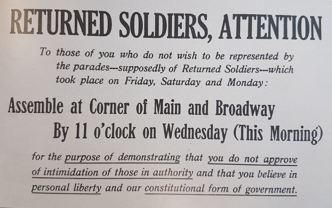 An advertisement in a newspaper calling for anti-strike soldiers to parade. (Archives of Manitoba)