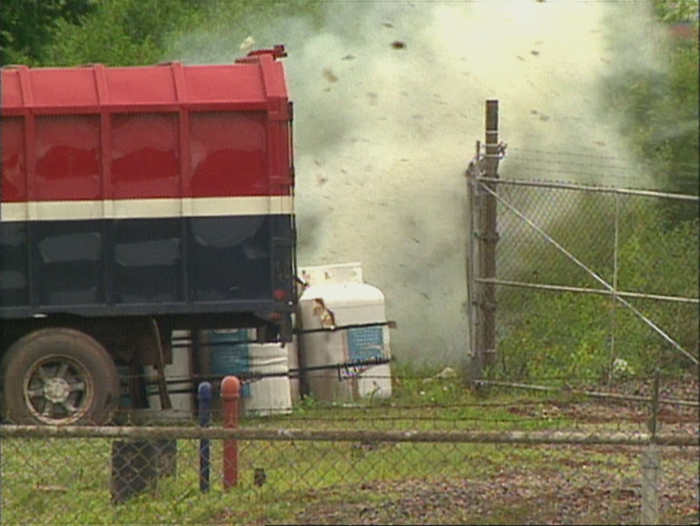 The moment the bomb was detonated at the propane tank station. (CBC)
