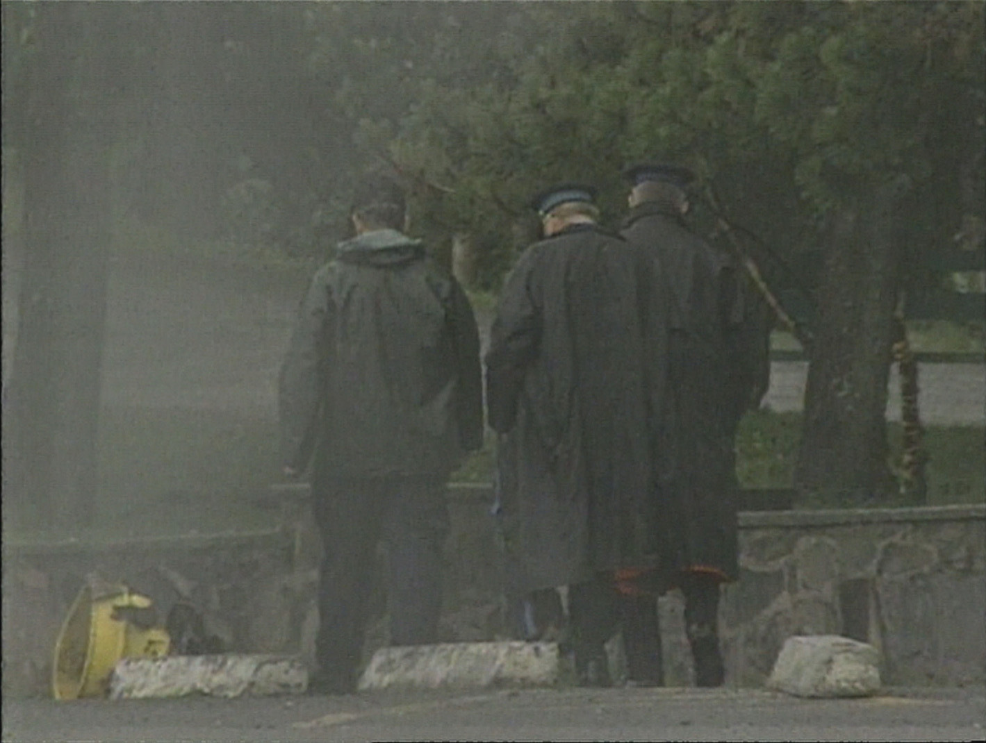 Police survey the scene of the bombing in Point Pleasant Park in Halifax. (CBC)