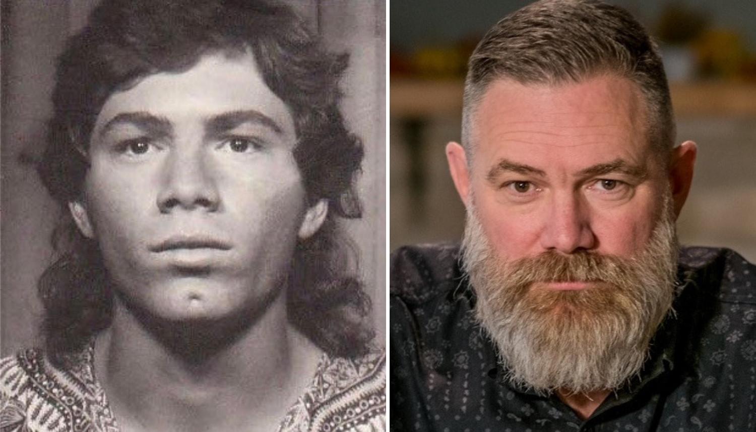 From left, Peter Hamer's 1986 yearbook photo, and Hamer in 2018. (Michel Aspirot/CBC)