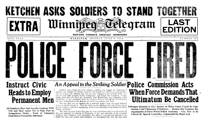 Headline in the Winnipeg Telegram's evening edition, the day the police force was fired. (Archives of Manitoba)