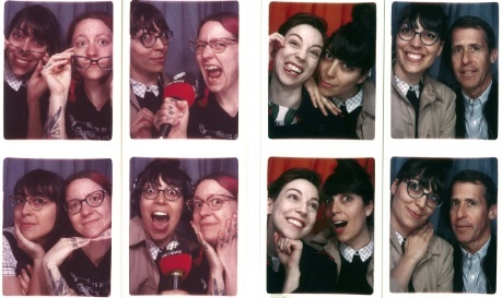 CBC's Julia Caron puts on her most serious journalist face to take photo booth strips with Amber Dearest, Meags Fitzgerald and Jeff Grostern at the last analog booth in Quebec.