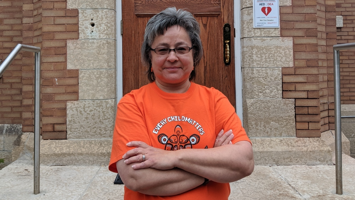 Orange Shirt Day founder Phyllis Webstad was born on Dog Creek Reserve and is Northern Secwepemc from the Stswecem'c Xgat'tem First Nation. She was six years old in 1973 when she was put in a residential school in B.C. (Lenard Monkman/CBC)