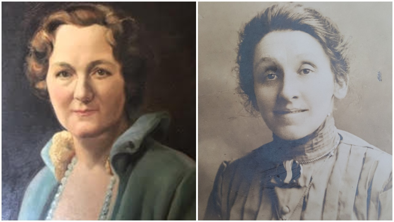 Katherine Queen, left, and Edith Hancox were members of the Women's Labour League and active in the general strike alongside Helen Armstrong. (Oil painting of Queen: J. Shelsy/Collection of Joy and John Hodgkinson; Hancox photo: Courtesy David Thompson)