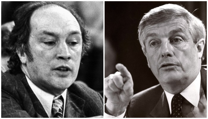 Pierre Trudeau, left, and Peter Lougheed squared off in a battle over energy. Photos: The Canadian Press