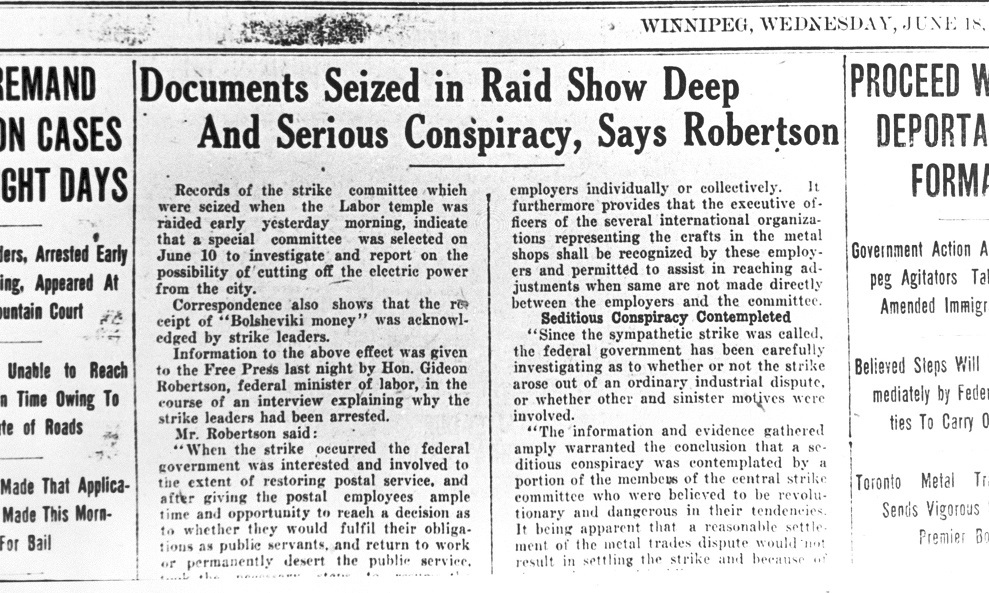 A headline claims that documents obtained in raids on strike leaders' homes and the Labour Temple revealed a seditious conspiracy. (University of Manitoba Archives)