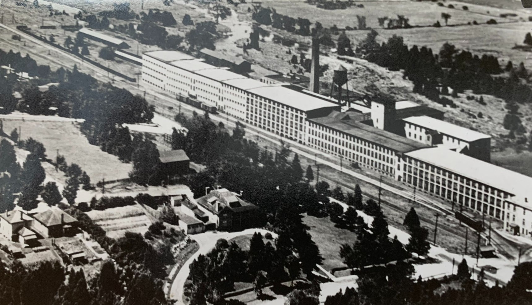 Dominion Woollens and Worsteds, Limited, in Hespeler, Ontario, circa 1940. This was the largest textile mill in the British Commonwealth at the time.