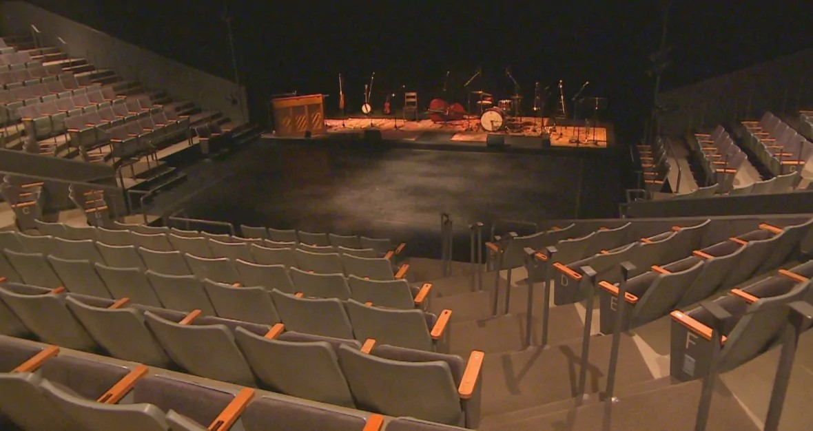 All was quiet inside Prairie Theatre Exchange in downtown Winnipeg as productions of stage shows were halted. (Gary Solilak/CBC)