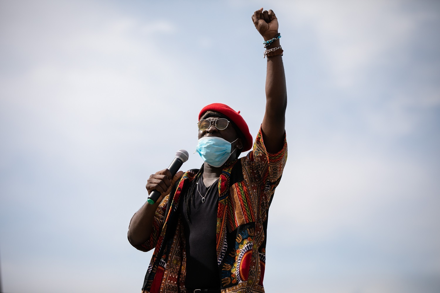 Gabriel Lucky Gbeneyei, 22, speaks during Froday's protest.