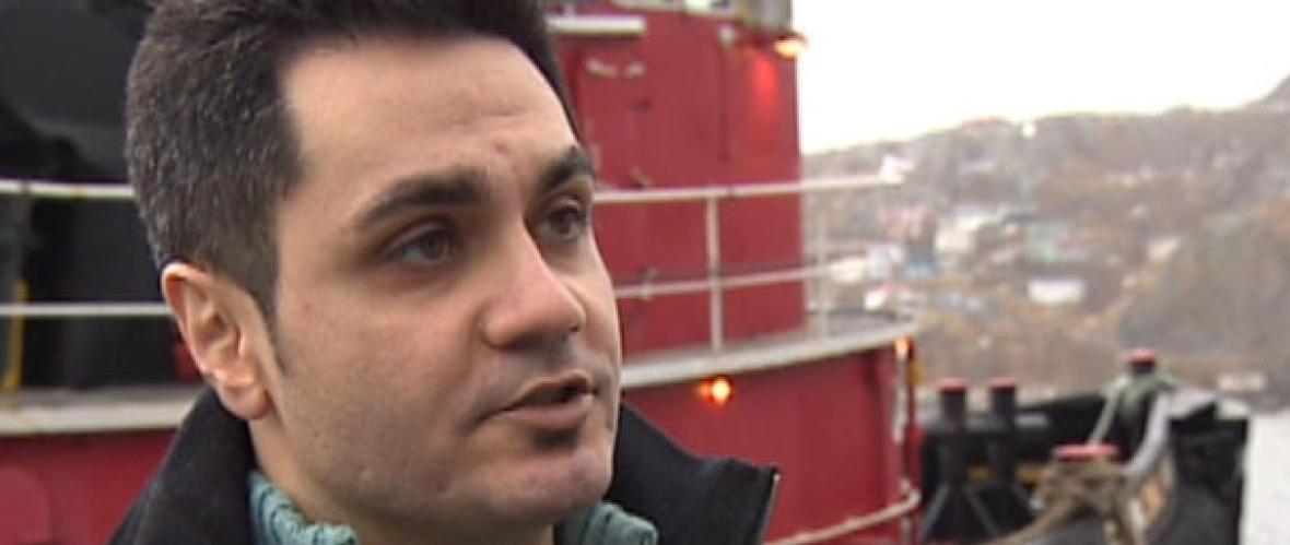 Reza Shoeybi talks to CBC News after the Lyubov Orlova went adrift. (CBC News)