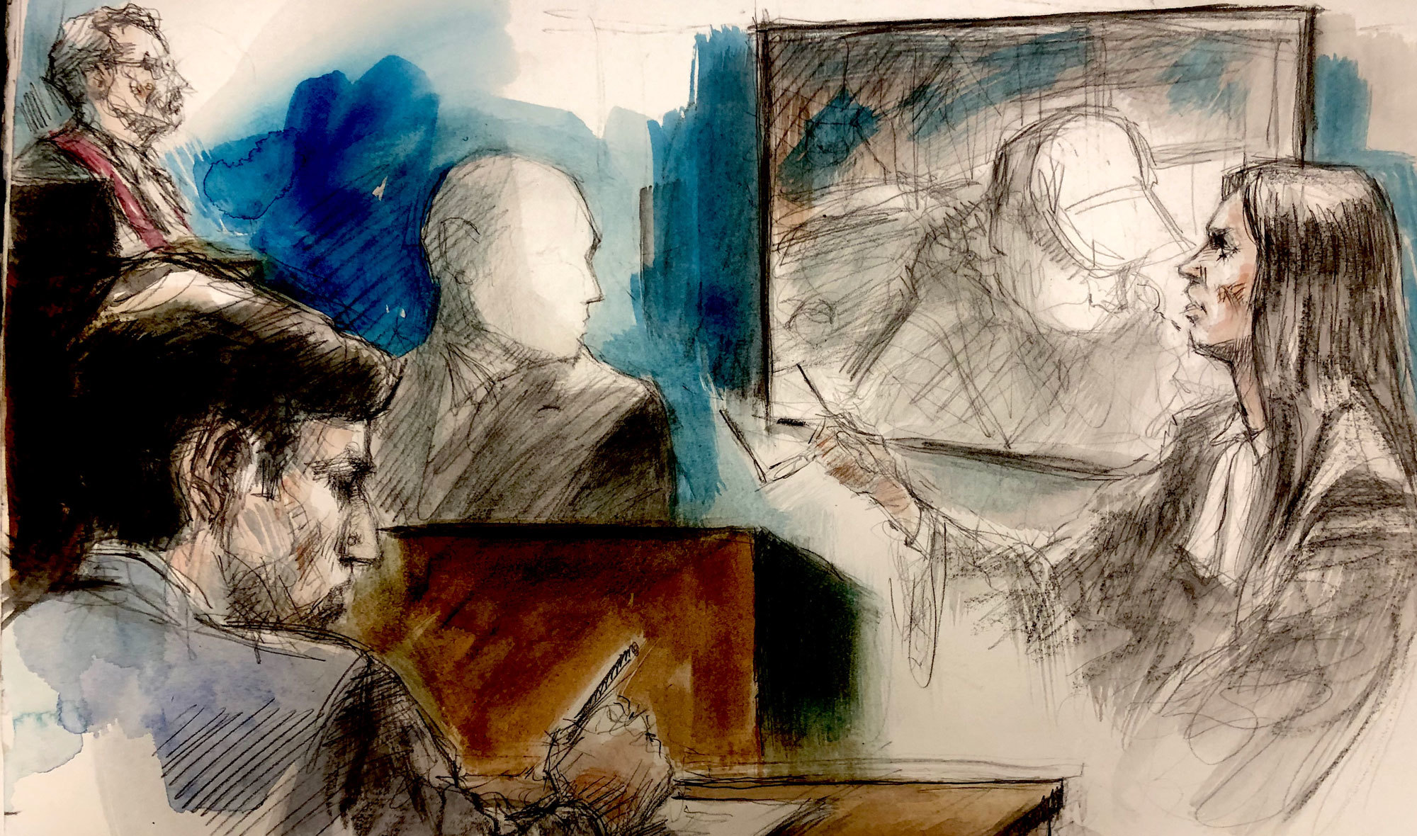 Schlatter's lawyer questions an alternate suspect, J.G., during the trial. His identity cannot be revealed due to a publication ban. (Pam Davies/CBC)