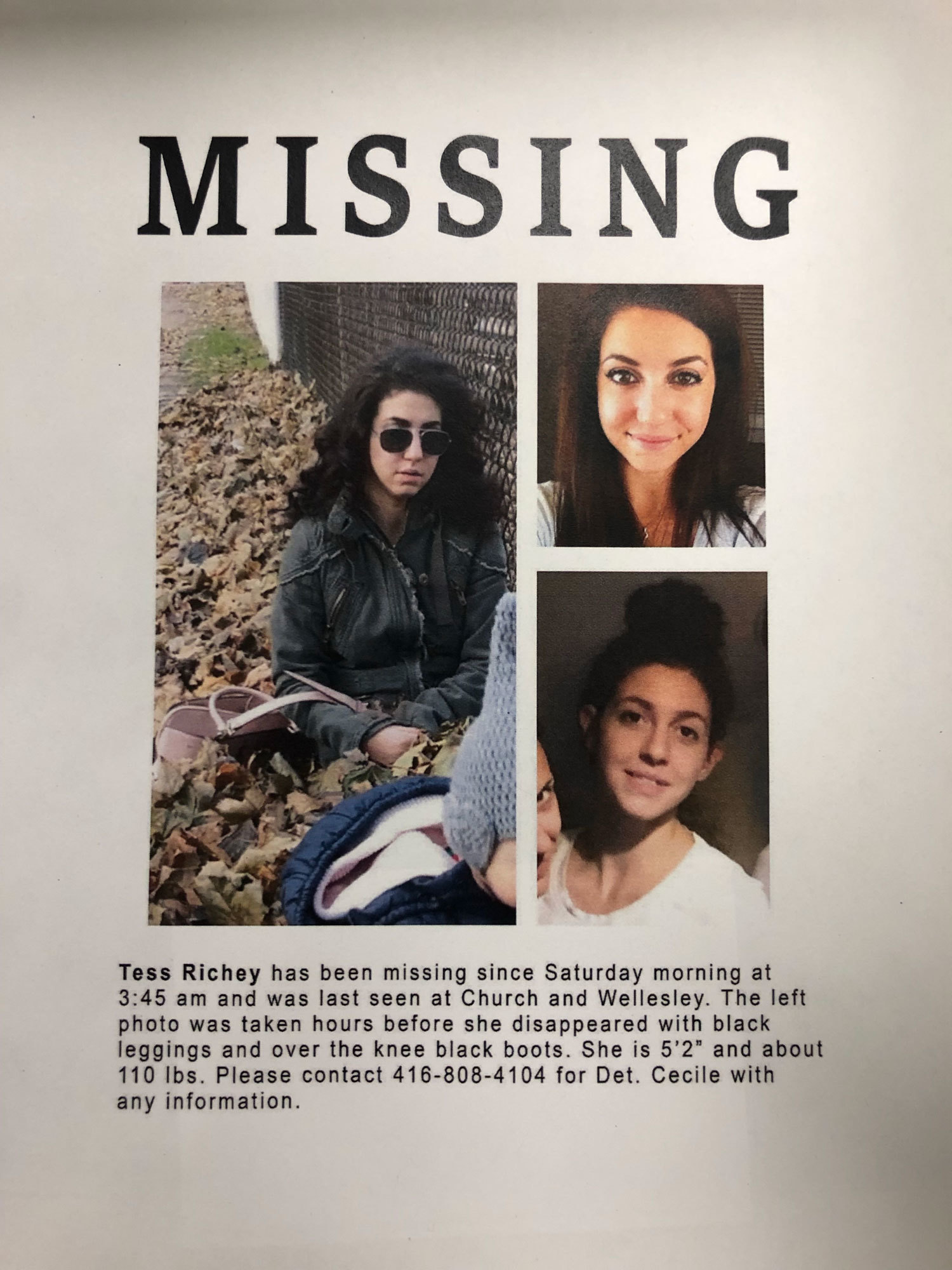Richey's family distributed these posters in an effort to find her. (Court exhibit)