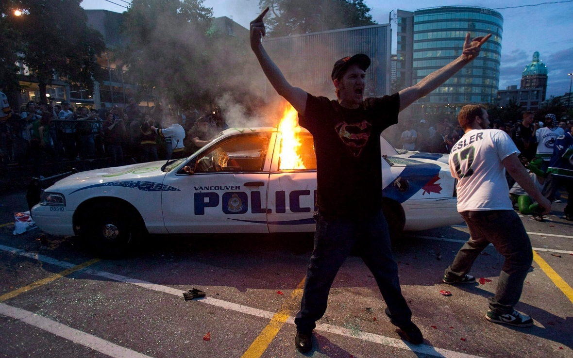 The night of the 2011 Stanley Cup riot saw millions of dollars of property damage. (Geoff Howe/The Canadian Press)