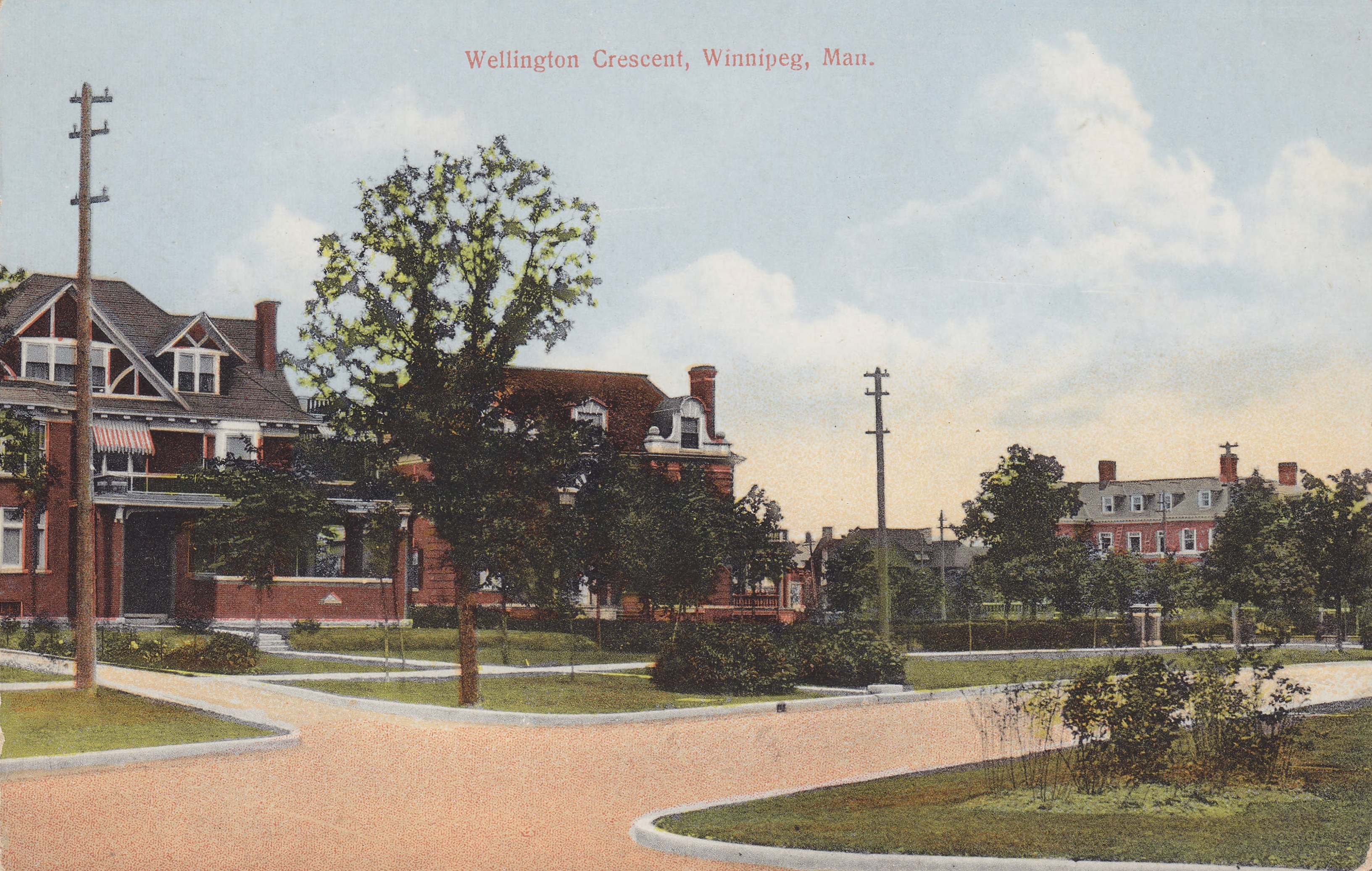 A postcard printed between 1903 and 1913 shows two stately mansions on the south side of Wellington Crescent. The homes, built in 1906, are still there in 2019. (Rob McInnes/Winnipeg Public Library)