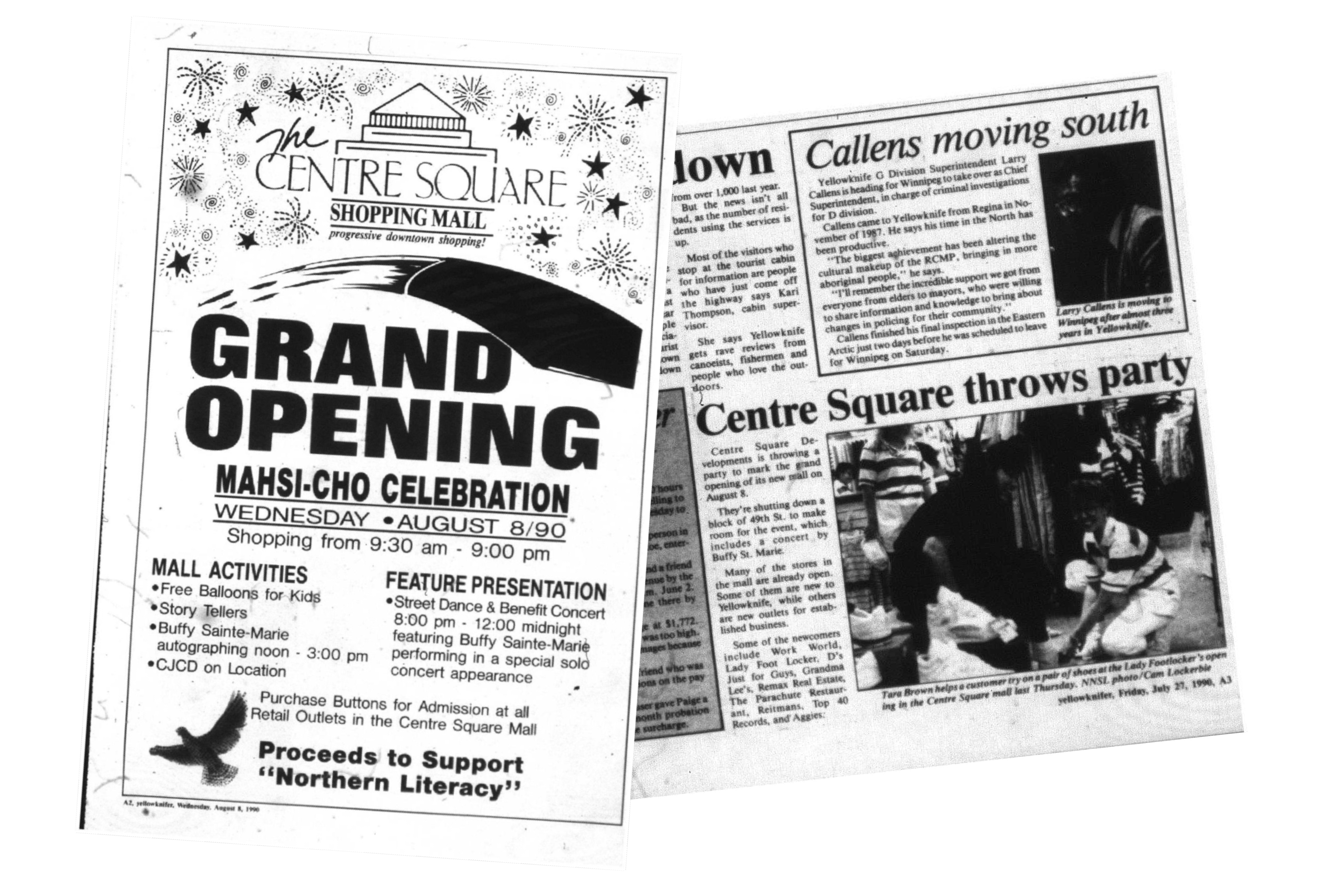 Newspaper clippings from Centre Square's opening day. Buffy Sainte-Marie played a street concert on Yellowknife's 49th Street. (Submitted by Ryan Silke)