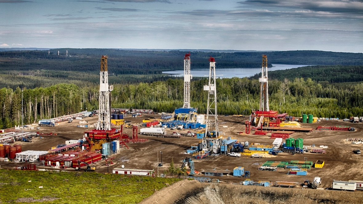 An aerial view of a drilling operation in the Montney. (Seven Generations Energy)
