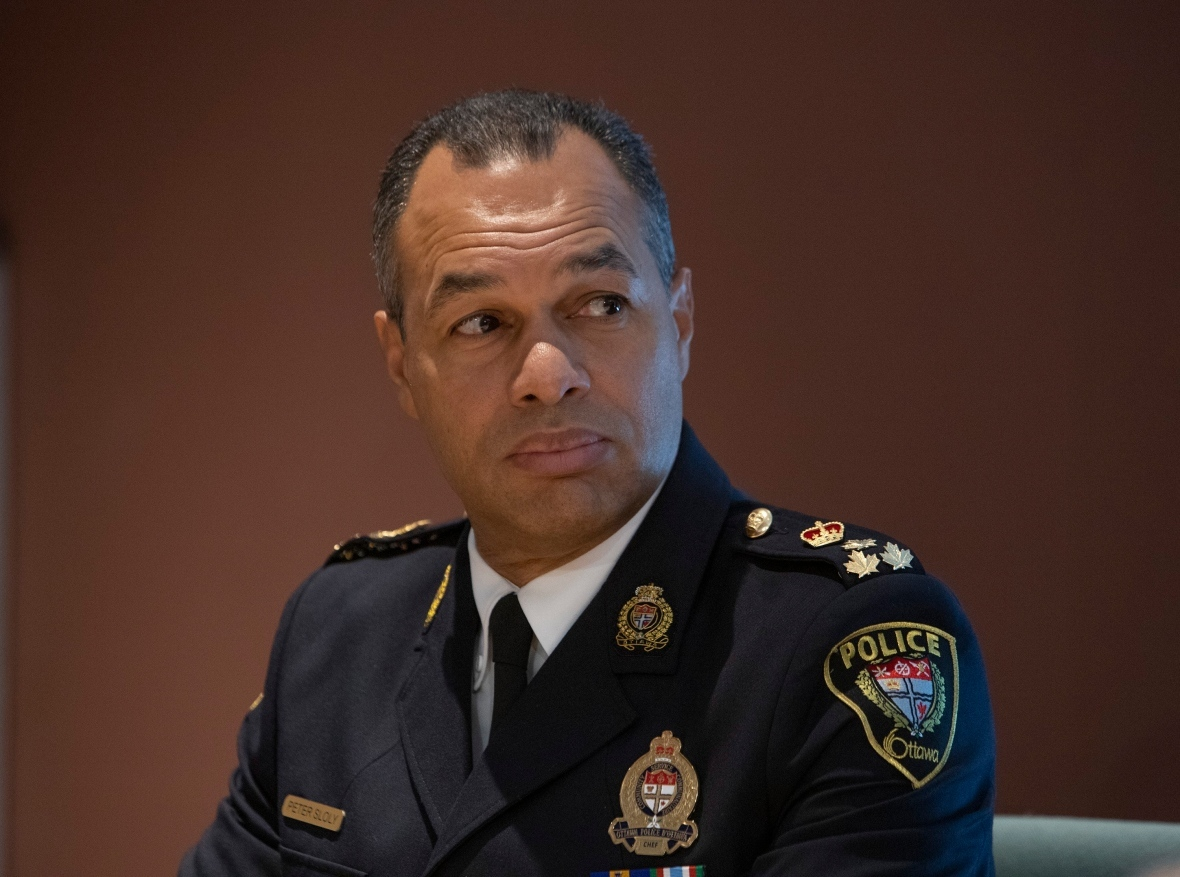 Peter Sloly, previously a deputy chief of the Toronto Police Service, was sworn in as chief of the Ottawa Police Service in 2019. (Fred Chartrand/The Canadian Press)