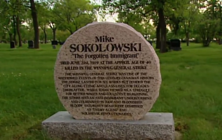 Mike Sokolowski's gravesite was finally marked with a headstone in 2003 — decades after he died on Bloody Saturday. (CBC)