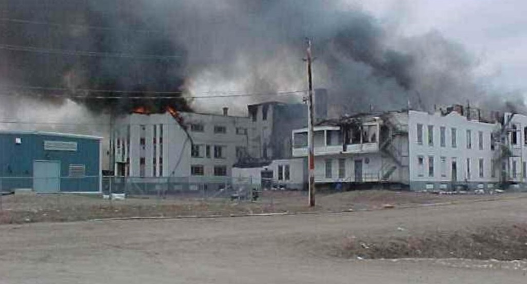 St. Anne's residential school burning in 2002. (CBC)