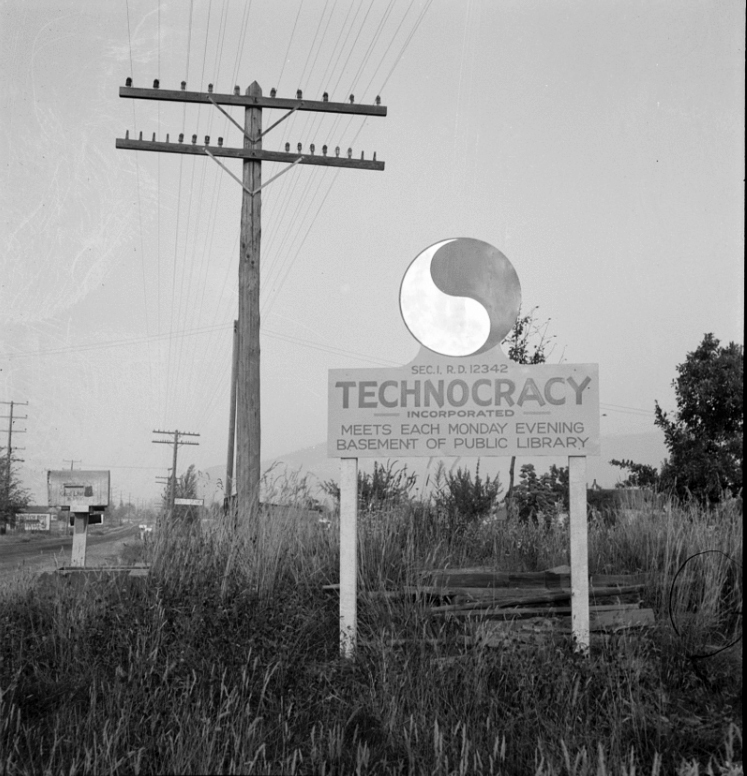 A Technocracy sign is seen in Josephine County, Ore., in  August 1939. (Technocracyinc.org)