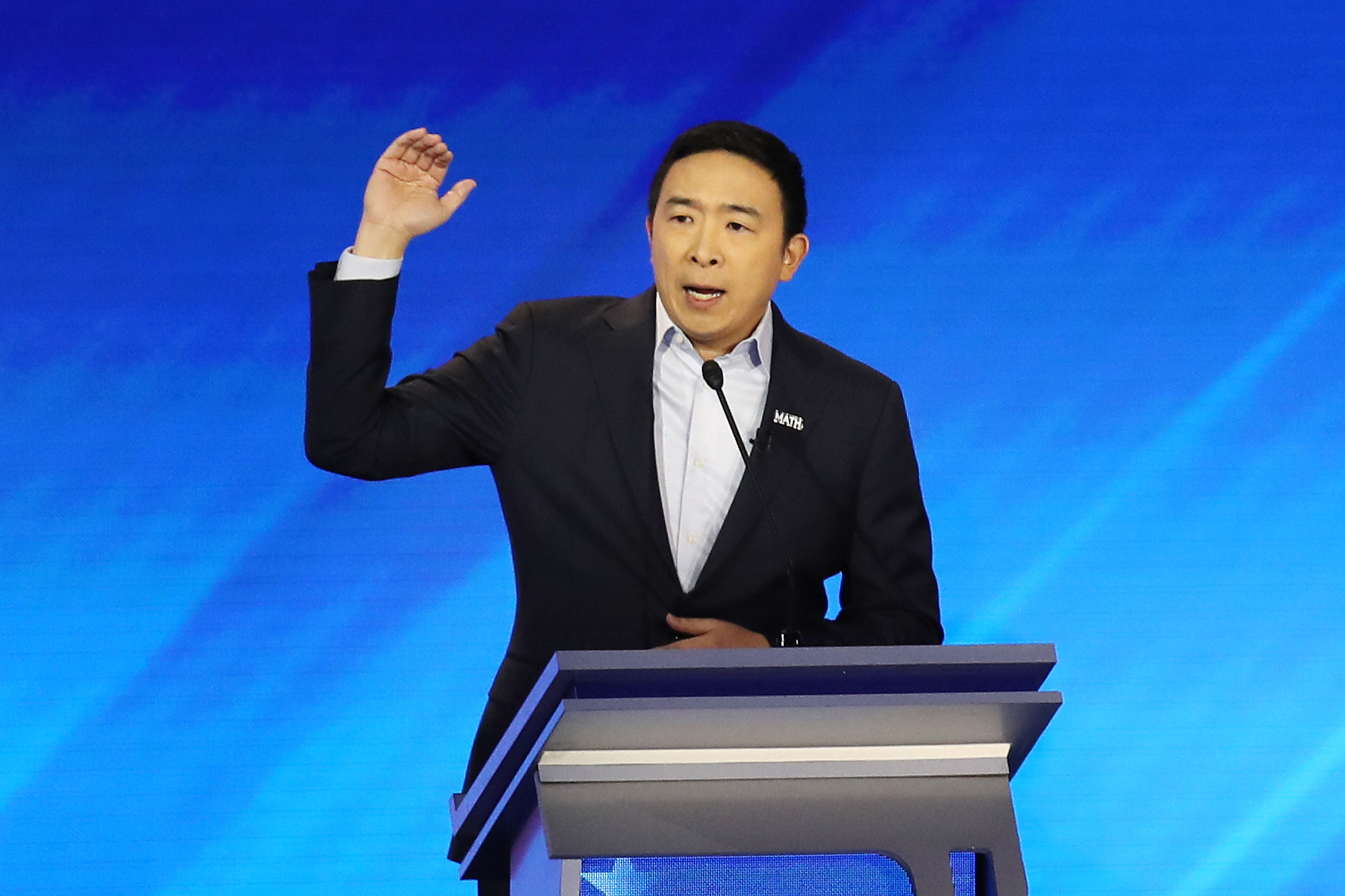 Silicon Valley entrepreneur Andrew Yang sought the Democratic nomination for U.S. president in 2020, campaigning in part on a promise of a $1,000-a-month universal basic income. (Joe Raedle/Getty Images)
