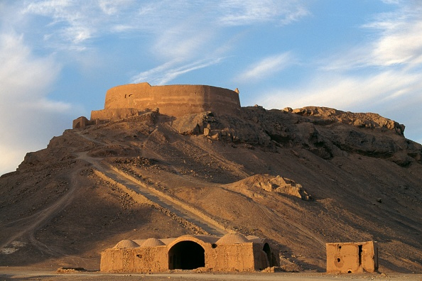 A Tower of Silence and Zoroastrian village near Yazd, Iran. (DeAgostini/Getty Images)