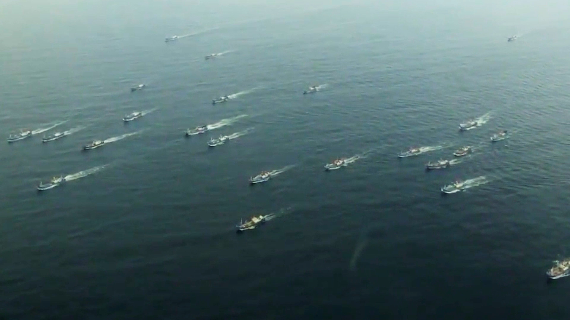 Chinese pair trawlers headed to fishing grounds in the Sea of Japan, or East Sea. (South Korea Fisheries Agency/The Outlaw Ocean Project)