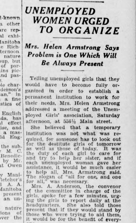 An article in the Winnipeg Evening Tribune from February 1930 reports on Helen Armstrong's ongoing efforts to encourage women to join unions, 11 years after the general strike. (Winnipeg Tribune collection/University of Manitoba)