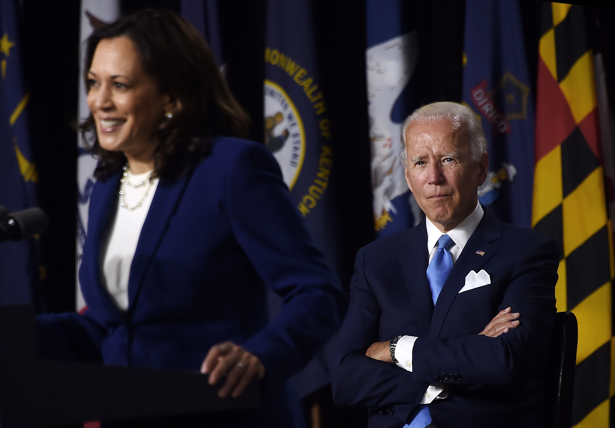 In August, Joe Biden, right, chose Sen. Kamala Harris, left, as his running mate in the 2020 election. (Olivier Douliery/AFP/Getty Images)