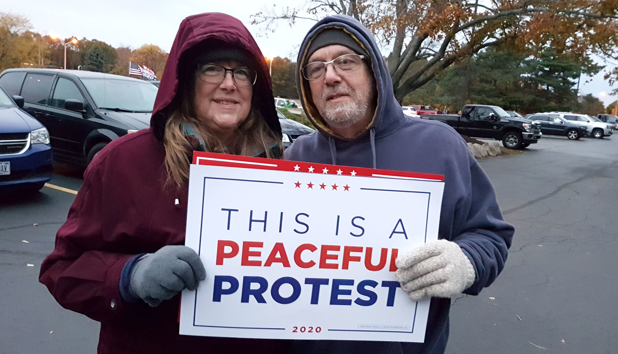 Mary and Todd Twining are staunch Trump supporters. Todd Twining said, 'You see more enthusiasm [for Trump] than 2016.' (Mark Gollom/CBC)